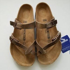 Birkenstock Mayari Tobacco Leather Sandals 38